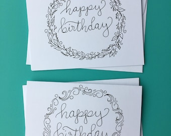 Hand-lettered Happy Birthday Cards, Set of two