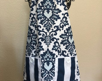 Blue French Country Apron
