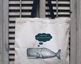 tote bag canvas - nautical tote bag - beach bag - whale tote - sailing gift - sailor bag - book bag - book tote - BLUE MOBY - tote bag