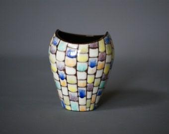 SWISS Mid Century Vase, Zangger Keramik, Swiss Studio Pottery Vase, Switzerland, 1950s Mid Century German Vase, Fishmouth Vase, Checkerboard