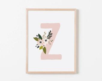 Gray Sprigs Z Nursery Art. Nursery Wall Art. Nursery Prints. Nursery Decor. Girl Wall Art. Personalized Wall Art. Monogram Art. Floral Art.