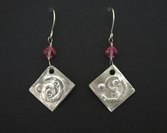 Sterling Silver Swirls and Pink Cubic Zirconia Dangle Earrings