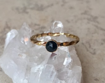 black onyx gold filled ring-size 6