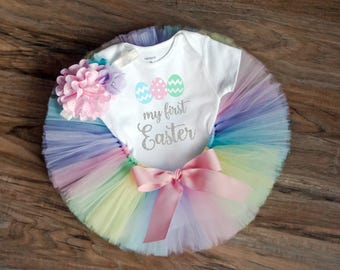 "Baby girl first Easter outfit ""Kaylyn"" pastel Easter outfit for baby girl, first Easter outfit, pastel tutu, Newborn Easter outfit, tutu"