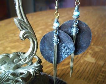 Rustic Earrings-Patina Earrings-Tribal Earrings-Earthy Earrings-Brass Earrings-Bohemian Earrings-Handmade Earrings-Boho Jewelry
