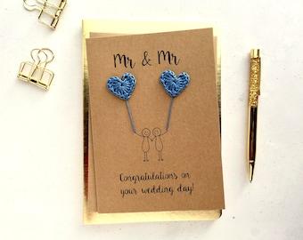 Mr & Mr card - Groom and Groom card - Gay wedding card - Brown card