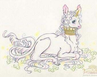 "Junicorn#1 ""Among the Orbs and Clover"" - Original Unicorn Drawing on Moleskine ORIGINAL OOAK Art"