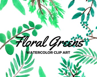 Watercolor Leaves Clip Art - Hand painted floral art -  Floral Clip Art - Commercial use