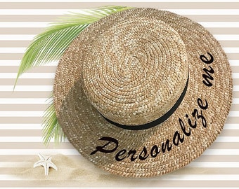 Personalised Straw Boater Hat | Natural Straw Boater | Straw Boater Hat with Black Band | Sequin Boater Hat | Summer Boater | Travel Hat