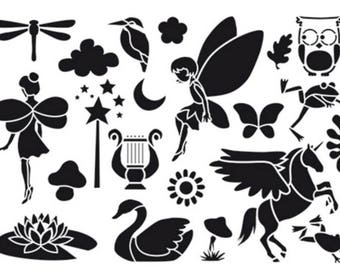 Stencil Home Deco - Elves - 21 x 29.7 cm - 21 patterns Princess fairy Dragonfly Unicorn owls