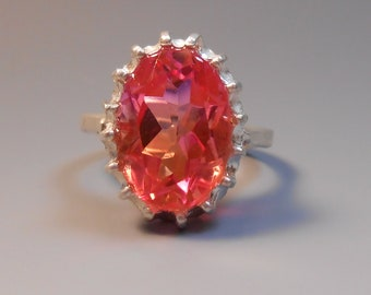 Topaz Recycled Orange Raspberry Mystic Fire Topaz Sterling Silver Ring