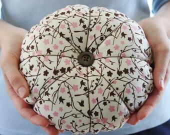 Jumbo Bird Pin Cushion ~ Large Pink Pincushion ~ Extra Large Floral Birds Pincushion ~ Pink Felt Pin Cushion