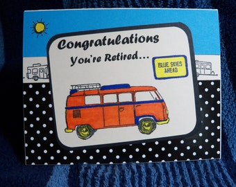 Retirement card, Congratulations on your retirement card, handmade retirement card, blue skies ahead retirement card, RV retirement card