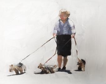 Woman Walking Dog Painting Dog Walking Art PRINT  - Art Print  - from original painting by J Coates