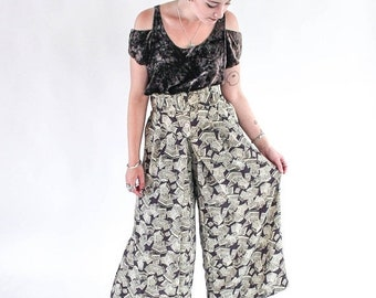 80s YACHT PANTS loose high waist printed beach resort cruise summer high fashion belted XS S