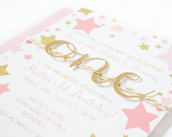 Pink and gold star first birthday invitation, twinkle little star 1st birthday, pink stars party invites, girl first birthday, gold glitter