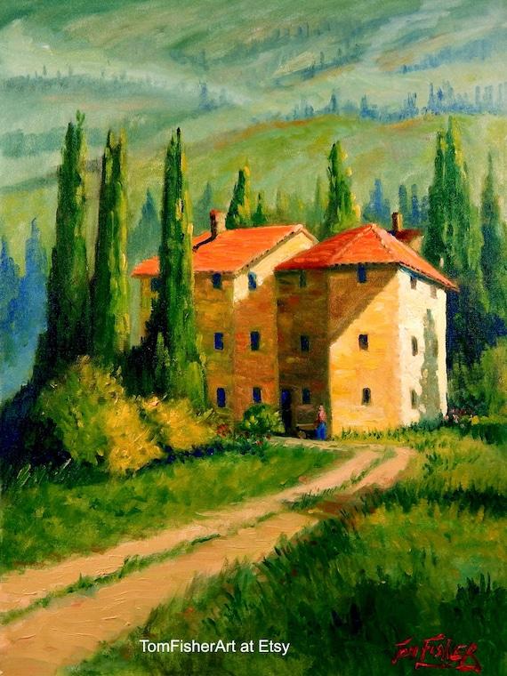 Items Similar To Original Tuscan Home Landscape Oil