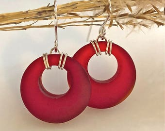 Red Sea Glass Earrings with Sterling Silver Ear Wires