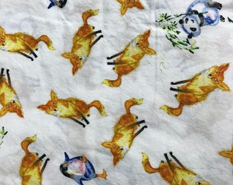 Friends in Wild Places by Masha Dyans for Clothworks Cotton Fabric 1 Yard Fox Pandas and Penguins Ornage Wild Woodland WildernessBamboo
