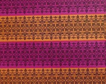 Vintage Gift Wrap 1970s All Occasion Wrapping Paper Mod Hot Pink & Orange--2 Sheets