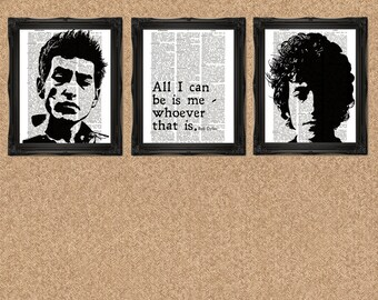 Bob Dylan Prints Dictionary Page Set of 3 Prints A125