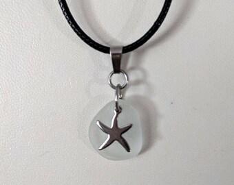 Round, White Sea Glass with Starfish Charm