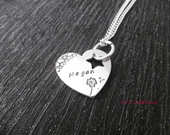 Handstamped Patterned Heart Necklace -Personalised name pendant - Dandelion and wishes -   Necklace - Jewellery - Gift