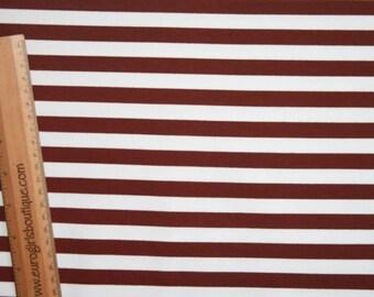 """Brown white stripes 1/2"""" 1 yard knit cotton lycra"""