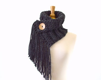 Fringed Chunky Scarf Cowl Neckwarmer with One Natural Coconut Shell Button | The Geneva