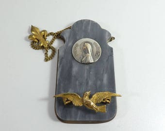 Art Deco Posy Holder Tussie Mussie Saint Esprit Dove Holy Spirit Plaque Double Fleur De Lys Marble Brass Wall Hanging virgin Mary