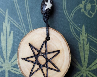 English Ash Wood Fairy Star Pendant - Pagan, Wicca, Witchcraft, Elven star, Septagram, Faery star