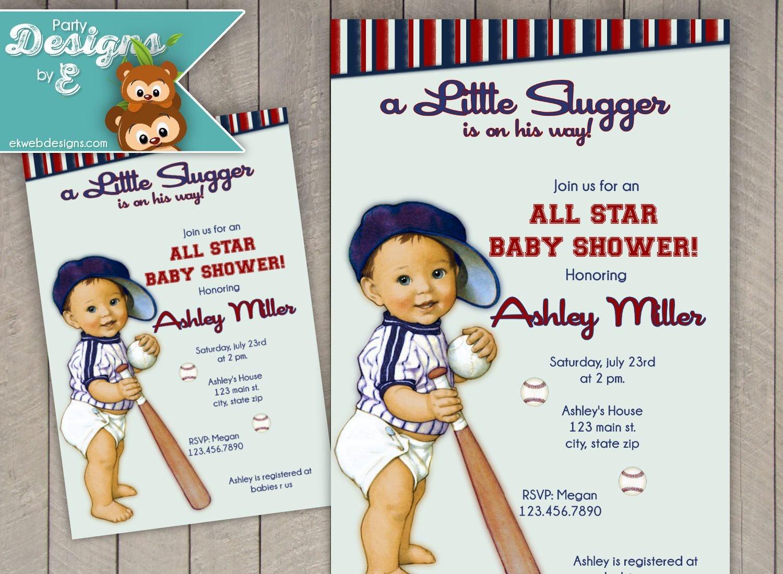 Vintage All Star lil Slugger Baseball Baby Shower Invitation