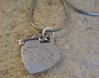 "Moon River - Vintage Sterling Silver Tiffany & Co. ""Please Return to"" Heart Tag Tiny Key Recycled Jewelry Choker Necklace Mothers Day"