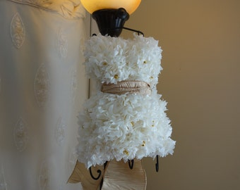 PuffScape JEWELRY Hanger BRIDAL DRESS Replica  35+ Loops for Hanging Earrings Ivory & Gold Tissue Paper Pom Pom Flower Puffs Wedding