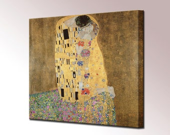 The Kiss by Gustav Klimt Canvas Art Print Canvas Wall Art Painting Gift for Her Wife gift Christmas Gift Fine Canvas Wall Art Print