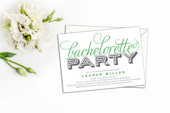 BUDGET PRINTABLE - Simply Bold Bachelorette Party Invitation