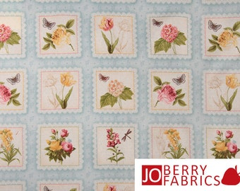 Botanical Labels Quilt or Craft Fabric by The Henley Studio for Makower UK, Spring Flowers, Fabric by the Yard