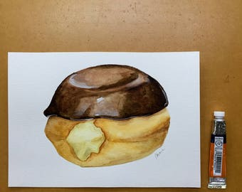 Custard Donut with Chocolate Icing Original Food Illustration Watercolour Illustration