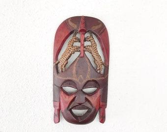 Vintage Carved Wood Tribal Mask Wall Hanging / Boho Decor