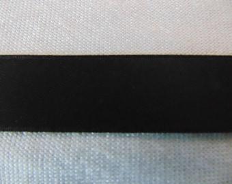 Black double faced satin ribbon (S-0725)