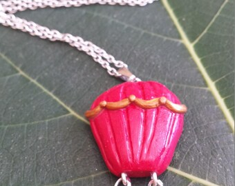 Hot air balloon necklace cherry red and gold