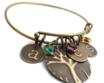 Family Tree Bracelet | Personalized jewelry Birthstones and Initials Bracelet| Mom Gift