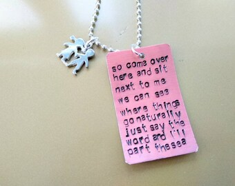 Foster The People, Sit Next To Me Lyrics handstamped on a tag, necklace, jewellery about music for rock and roll lovers