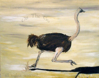 Original wildlife, acrylic painting, Ostrich on the Run, 16x20, stretched canvas, art on canvas, nature