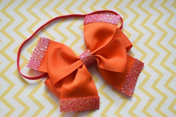Bright orange with pink tips bow - Baby / Toddler / Girls / Kids Elastic Hairclip / Headband / Hairband/ Barrette / birthday /party