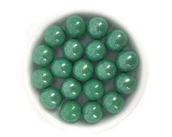 10mm Luster Green Round Glass Bead, Czech Glass Bead, Spacer Bead, Druk Bead, Pressed Glass bead, 10pc, 3596F