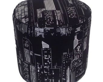 Fabric pouf American building at night 1300