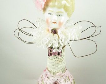 "Art Doll Angel Assemblage ""Pink Perfection""  Assemblage Art Angel, Antique Geman Doll Head, Vintage Style Doll in Pink"
