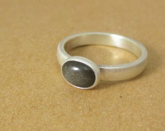 Grey Velvet Ring.  Silver Obsidian Stone and Sterling Silver.