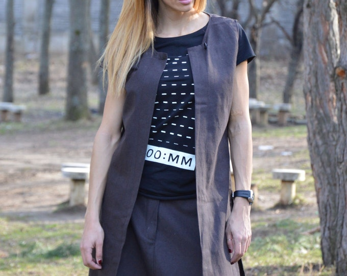 Brown Long Linen Vest, Asymmetric Extravagant Vest, Plus Size Sleeveless Vest, Sleeveless Coat by SSDfashion